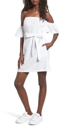 Women's Mimi Chica Seersucker Off The Shoulder Dress $45 thestylecure.com