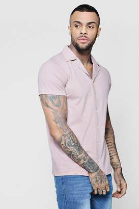 boohoo Jersey Short Sleeve Shirt With Revere Collar