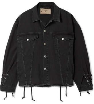 McQ Oversized Lace-up Frayed Denim Jacket - Black