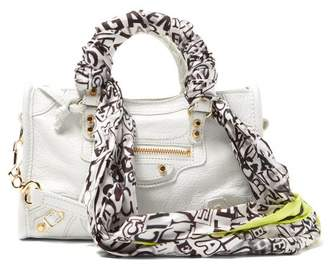 Balenciaga Classic City Nano Scarf Handle Leather Bag - Womens - White Multi