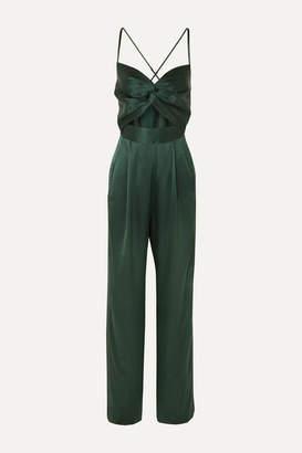 Mason by Michelle Mason Twist-front Cutout Silk-satin Jumpsuit - Forest green