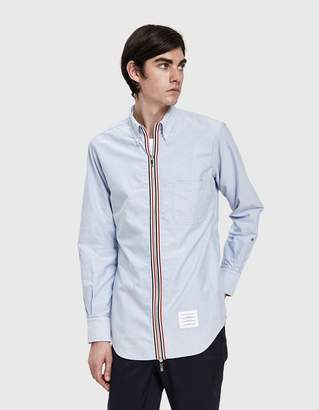 Thom Browne Zip Front Classic Long Sleeve Point Collar Shirt in Light Blue