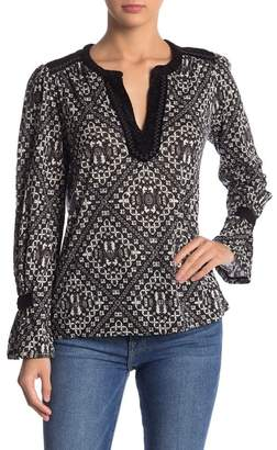 Lucky Brand Embroidered Trim Printed Top