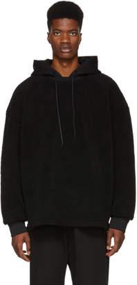 Juun.J Black Sherpa Panelled Hoodie