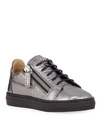 Giuseppe Zanotti London Metallic Embossed Leather Low-Top Sneakers, Baby/Toddler