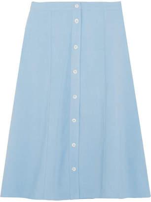 STAUD - Tommy Jersey Midi Skirt - Light blue