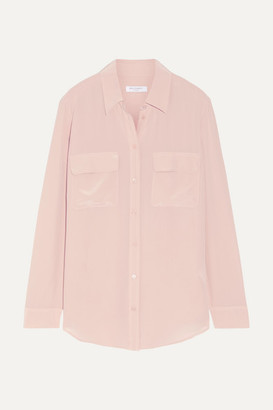 Equipment Signature Washed-silk Shirt - Blush