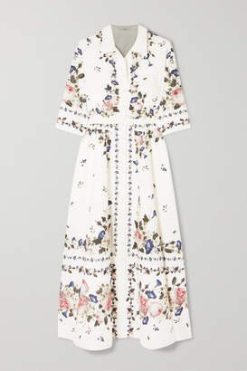 Erdem Kasia Belted Floral-print Cotton-poplin Midi Dress - White