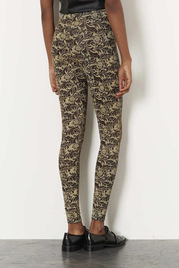Topshop Floral Gold Glitter Leggings