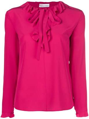 RED Valentino ruffle tirm pussy bow blouse