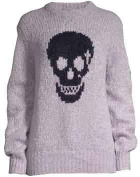 360 Cashmere Women's Madonna Skull Wool-Blend Sweater - Lilac Navy Skull - Size Medium