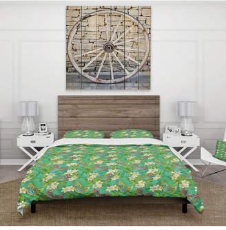 Design Art Designart 'Tropical Pattern With Flowers and Butterflies' Tropical Duvet Cover Set - Queen Bedding