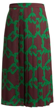 MSGM Chain Print Pleated Crepe Skirt - Womens - Burgundy