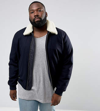 Asos DESIGN PLUS Wool Mix Harrington Jacket With Fleece Collar In Navy