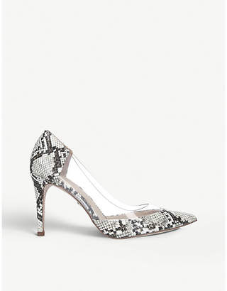 Kurt Geiger Atlas snakeskin-print and perspex courts