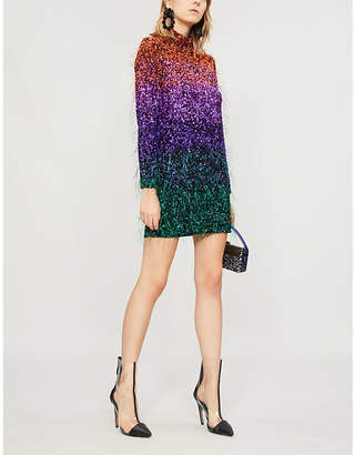 Ashish Dégradé sequin and tinsel-embellished mini dress