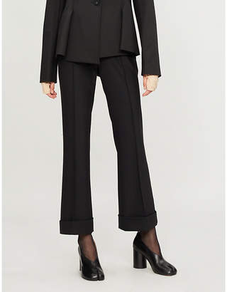 Helmut Lang Turn-up high-rise flared woven cropped trousers