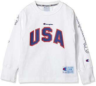 Champion (チャンピオン) - [チャンピオン] USAロゴ ロングスリーブTシャツ CS4788 ボーイズ オフホワイト 日本 130 (日本サイズ130 相当)