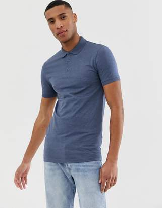 Asos Design DESIGN muscle fit jersey polo in blue marl