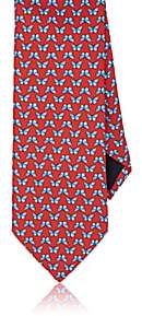Barneys New York MEN'S BUTTERFLIES SILK TWILL NECKTIE-RED
