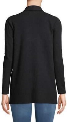 Neiman Marcus Pearl-Inset Open-Front Cardigan