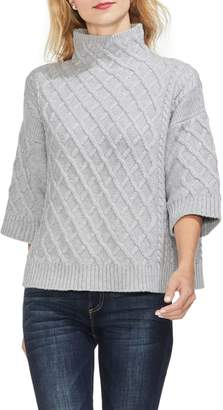Vince Camuto Lattice-knit Funnel-neck Sweater