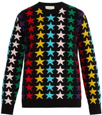 Gucci - Star Intarsia Chunky Knit Wool Jumper - Mens - Multi