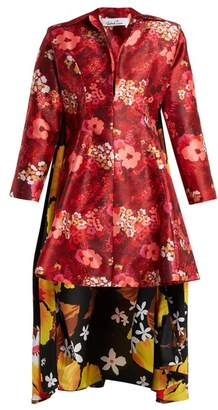 Richard Quinn - Floral Print Asymmetric Hem Duchess Satin Dress - Womens - Red Multi