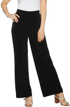 Susan Graver Petite Liquid Knit Wide Leg Pants with Back Slits