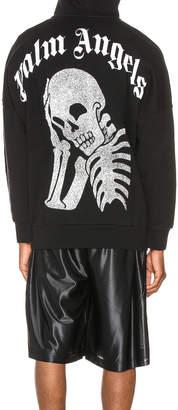Palm Angels Thinking Skull Hoodie in Black & White | FWRD