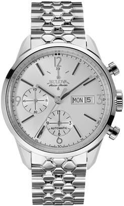 Bulova Accu-Swiss Men's Stainless Steel Silver-Tone Dial Watch, 41mm