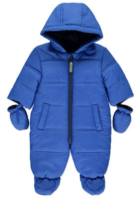 George Blue Padded Shower Resistant Snowsuit with Mittens