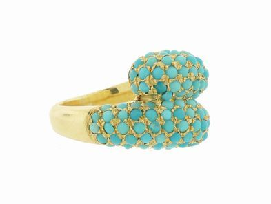 Jennifer Meyer Double Dome Ring in Yellow Gold in Turquoise