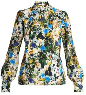 Erdem Edlyn Mariko Meadow Print Silk Blouse - Womens - White Print