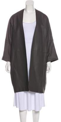 Vince Three-Quarter Sleeve Leather Coat