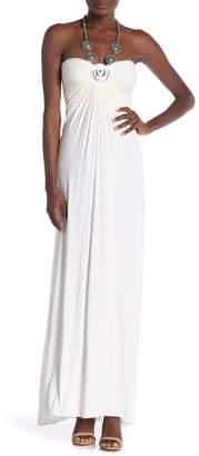 Sky Embellished Halter Maxi Dress