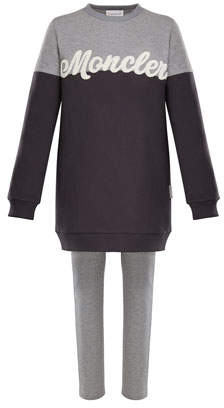 Moncler Two-Tone Logo Sweater w/ Leggings, Size 4-6