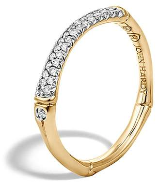 John Hardy Bamboo 18K Yellow Gold Diamond Pavé Slim Band Ring