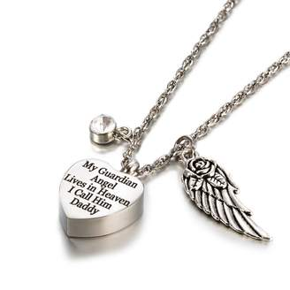 Keepsake Glimkis Cremation Urn Jewelry My Guardian Angel Lives In Heaven Angel Wings April Diamond Birthstone Memorial Ash Necklace