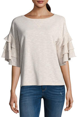 A.N.A Ruffle Sleeve Round Neck Top