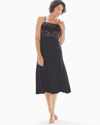 Cool Nights High Neck Nightgown with Lace Black