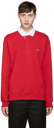Noah Red Rugby Polo $130 thestylecure.com