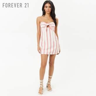 Forever 21 (フォーエバー 21) - Forever 21 フロントタイストライプベアワンピース