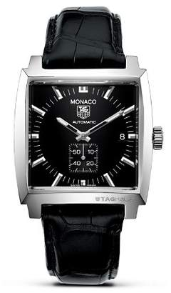 """Tag Heuer Monaco"""" Square Watch with Alligator Strap, 37mm"""