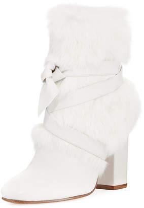 Alexandre Birman Lora Rabbit Fur Block-Heel Boot