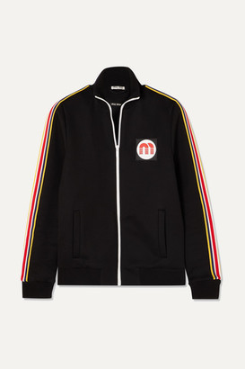 Miu Miu Striped Cotton-blend Jersey Track Jacket