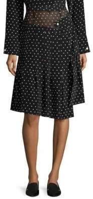 Sandy Liang Asymmetric Silk Polka-Dot Skirt
