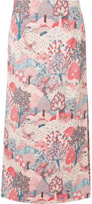 Vilshenko Chrissi Quilted Jacquard Midi Skirt - Pink