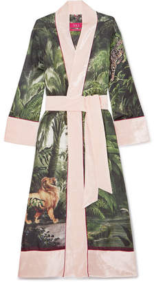 F.R.S For Restless Sleepers - Nomos Velvet-trimmed Printed Silk-twill Robe - Pink