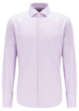 Regular-fit shirt in cotton twill with spread collar